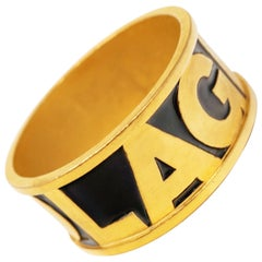 "Vintage 1980s Karl Lagerfeld Gilt & Enamel ""LAGERFELD"" Statement Bangle Bracelet"