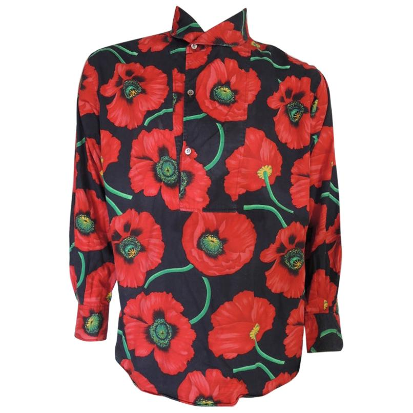 Vintage 1980s KENZO Cotton Poppy Floral Print Pullover Shirt