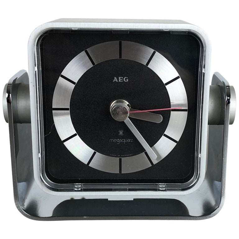 Vintage 1980s Modernist Space Age Megaquarz Metal Table Clock by AEG, Germany For Sale