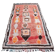Vintage 1980s Moroccan Red Middle Atlas Rug in Wool with Multicolored Pattern