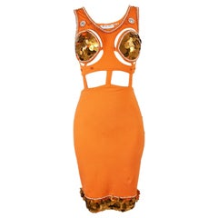 Vintage 1980s Orange Bodycon Sexy Cut Out Sequin Party Dress