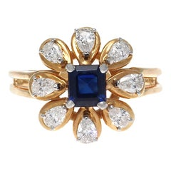 Vintage 1980s Oscar Heyman Brothers Sapphire Diamond Gold Platinum Flower Ring