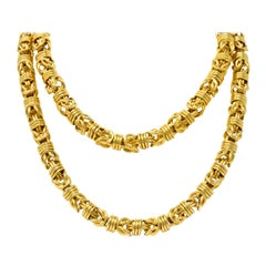 Vintage 1980s Oversized 14 Karat Gold Fancy Woven Chain Necklace