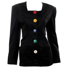 Vintage 1980s Patrick Kelly Black Cotton Jacket w His Signature Colorful Buttons