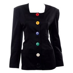 Vintage 1980s Patrick Kelly Black Cotton Jacket With Colorful Buttons