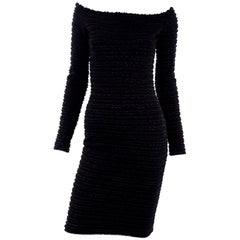 Vintage 1980s Patrick Kelly Paris Crinkle Ruffle Black Bodycon Dress