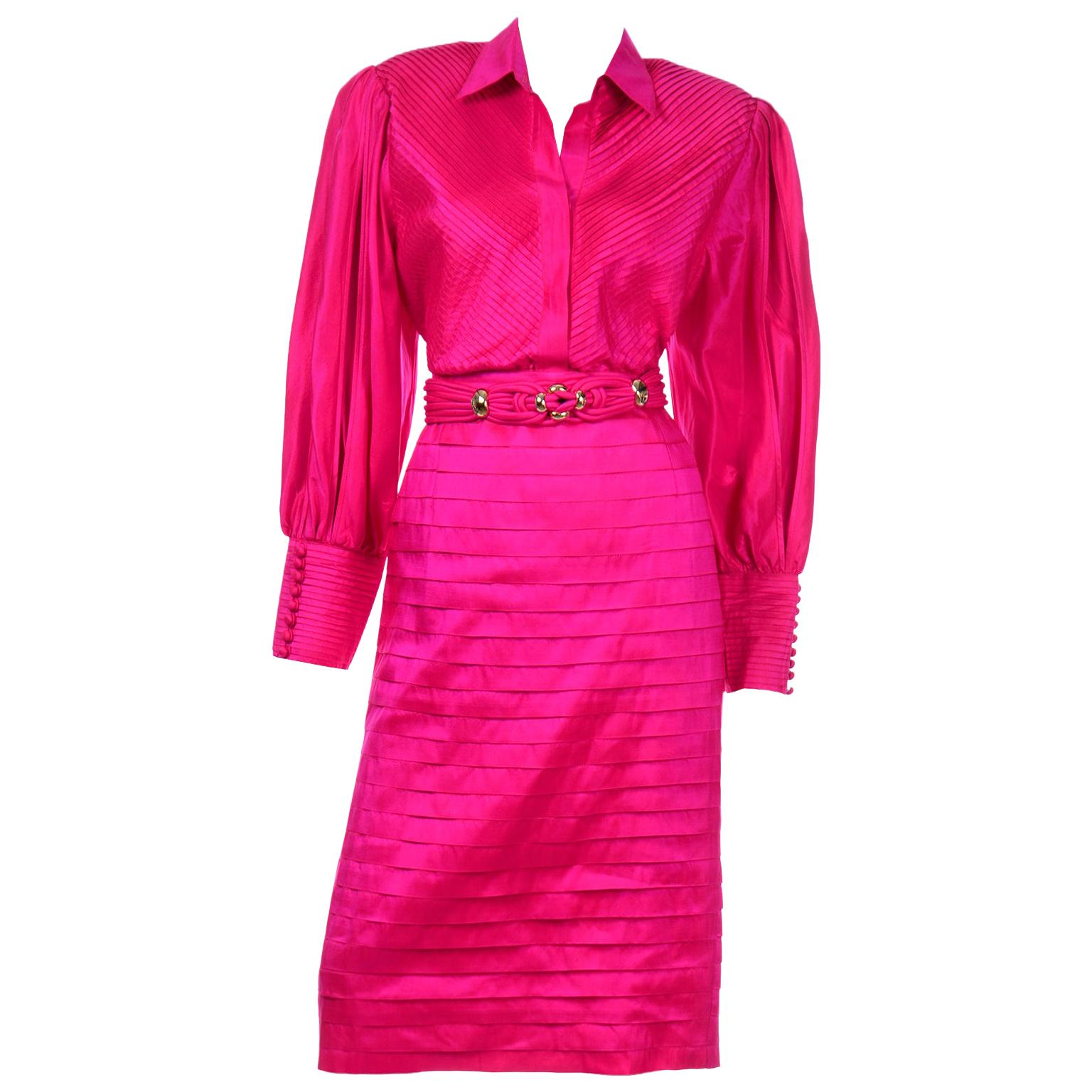 Vintage 1980s Pink Thai Silk  Pleated 2Pc Dress Statement Sleeve Blouse & Skirt