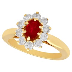 Vintage 1980s Ruby and Diamond Yellow Gold Cluster Ring