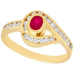 Vintage 1980s Ruby and Diamond Yellow Gold Twist Ring