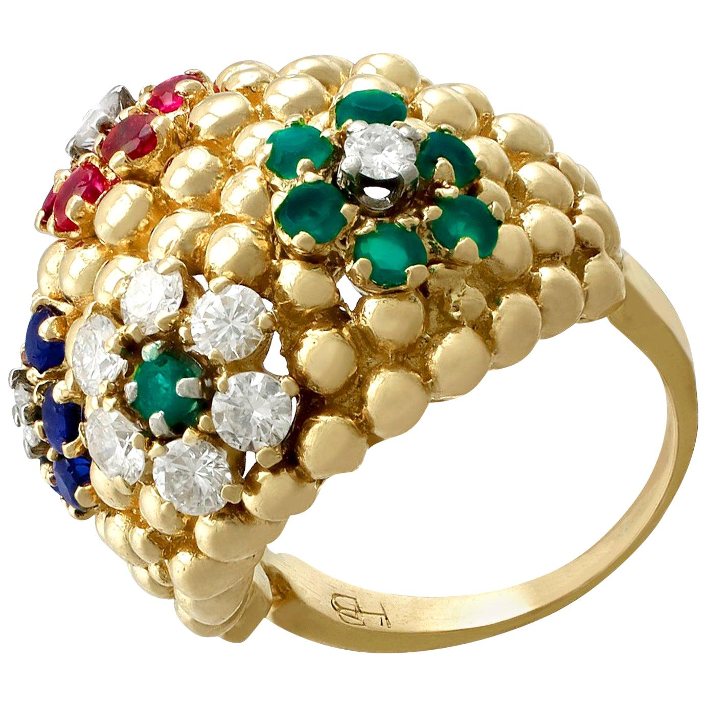 Vintage 1980s Ruby, Sapphire, Emerald and Diamond Yellow Gold Cocktail Ring