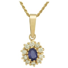 Vintage 1980s Sapphire and Diamond Yellow Gold Cluster Pendant