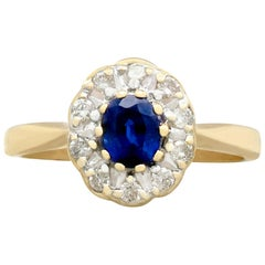 Vintage 1980s Sapphire and Diamond Yellow Gold Cluster Ring