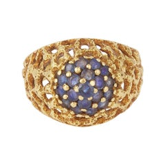 Vintage 1980's Sapphires 18 Carat Yellow Gold Ring