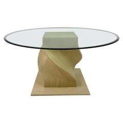 Vintage 1980s Spiral Bamboo Dining Table with Glass Top