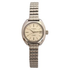 Vintage 1980s Stainless Steel 21 Jewels Ladies Waltham Automatic Watch