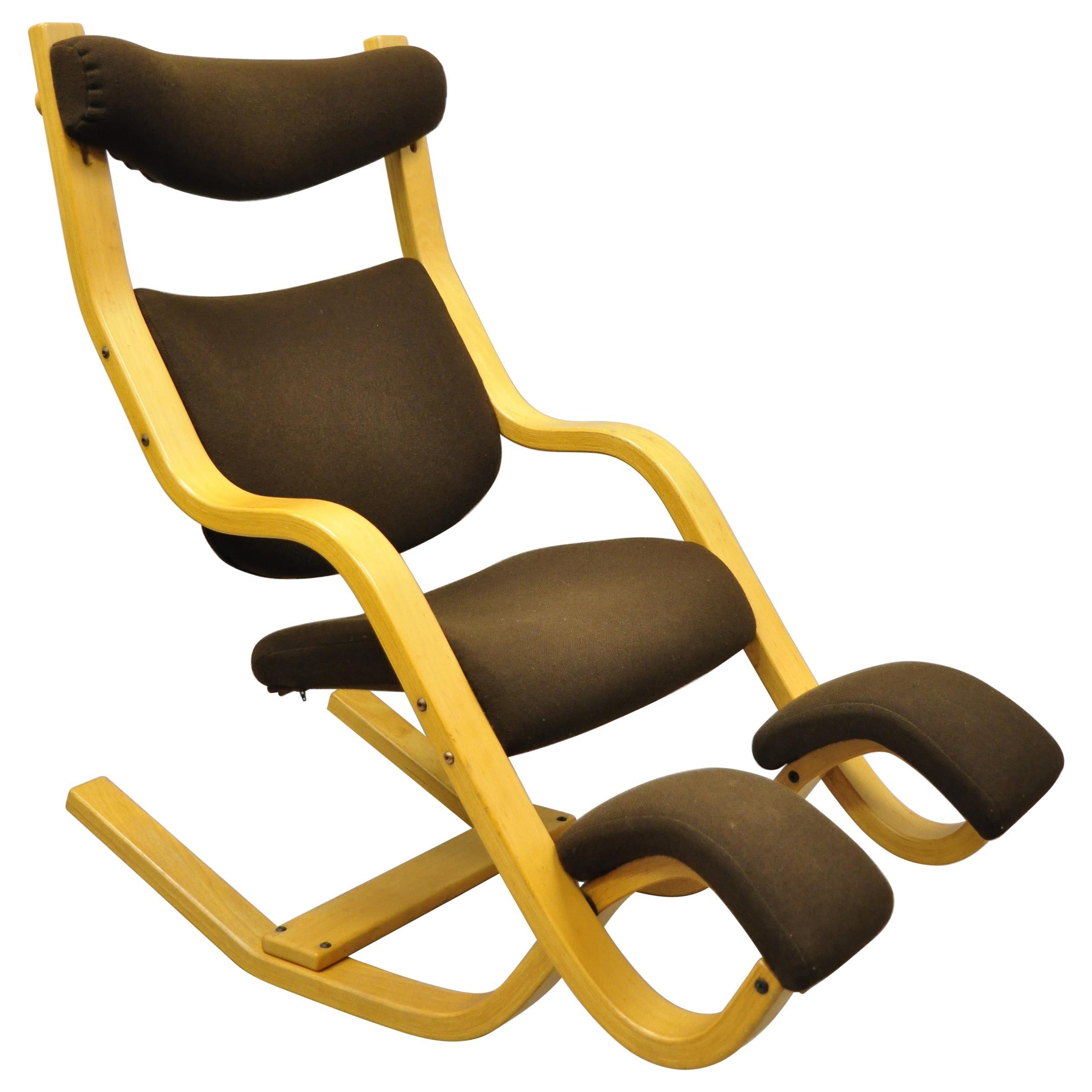 Vintage 1980s Stokke Varier Zero Gravity Balance Balans Bentwood Lounge Chair