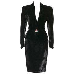 Vintage 1980s Thierry Mugler black silk velvet suit
