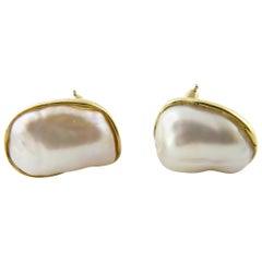 Vintage 1980s Tiffany & Co. 18 Karat Yellow Gold Keshi Pearl Earrings