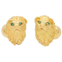 Vintage 1980's Tiffany & Co. Emerald Lion Head Cufflinks Set in 18k Yellow Gold