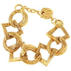 Vintage 1980s YSL Yves Saint Laurent Geometric Link Bracelet, Signed