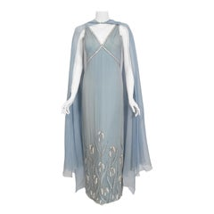 Vintage 1981 Chanel Haute Couture Light Blue Floral Beaded Chiffon Gown & Cape