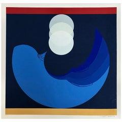 Vintage 1981 Thomas W. Benton Evolution Series, Blue Abstract Serigraph Prints
