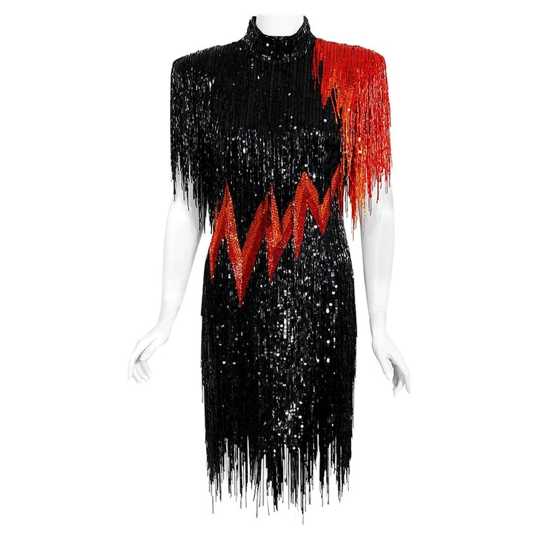 Vintage 1982 Bob Mackie Couture Lightning Bolt Black & Red Beaded Fringe Dress