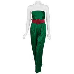 Vintage 1982 Givenchy Haute-Couture Green Pink Satin Strapless Jumpsuit & Jacket