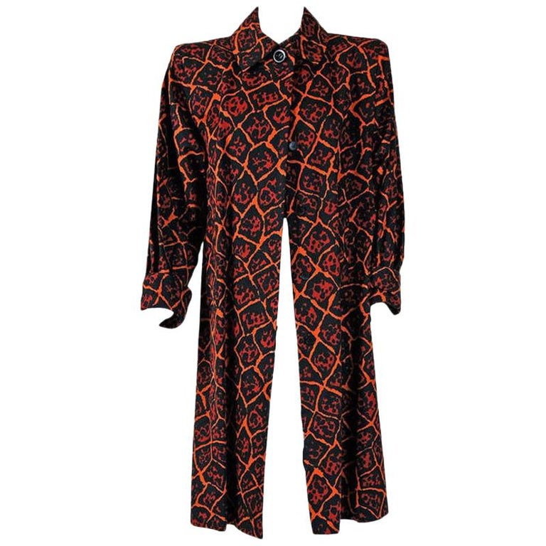 Vintage 1982 Yves Saint Laurent Leopard Print Cotton Twill Trench Jacket w/Tags For Sale