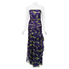 Vintage 1983 Yves Saint Laurent Documented Purple Print Silk Strapless Gown