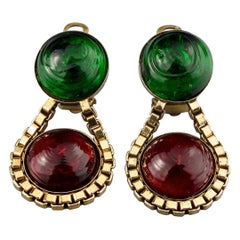 Vintage 1984 CHANEL Green Red Gripoix Poured Glass Drop Earrings