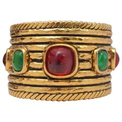 Vintage 1984 Chanel Wide Gold Cuff with Red and Green Gripoix Stones