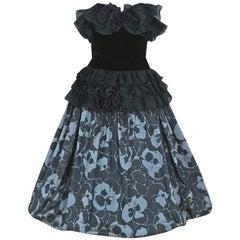 Vintage 1985 Gucci Couture Floral Print Silk & Velvet Strapless Full-Skirt Dress
