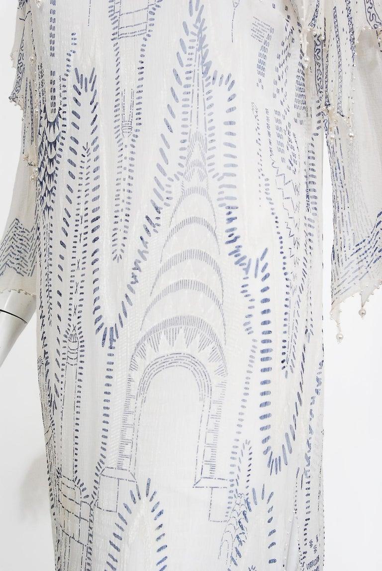 Vintage 1985 Zandra Rhodes Manhattan City Novelty Hand Painted Ivory Silk Dress For Sale 5