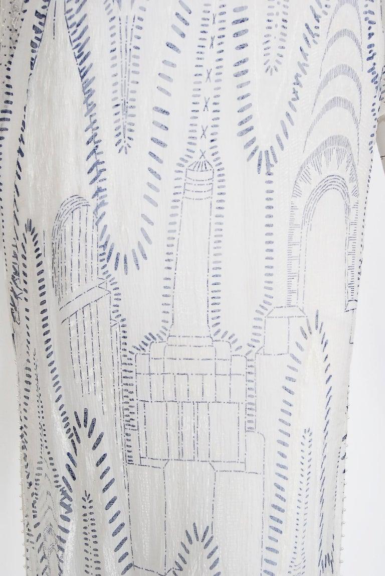 Vintage 1985 Zandra Rhodes Manhattan City Novelty Hand Painted Ivory Silk Dress For Sale 7