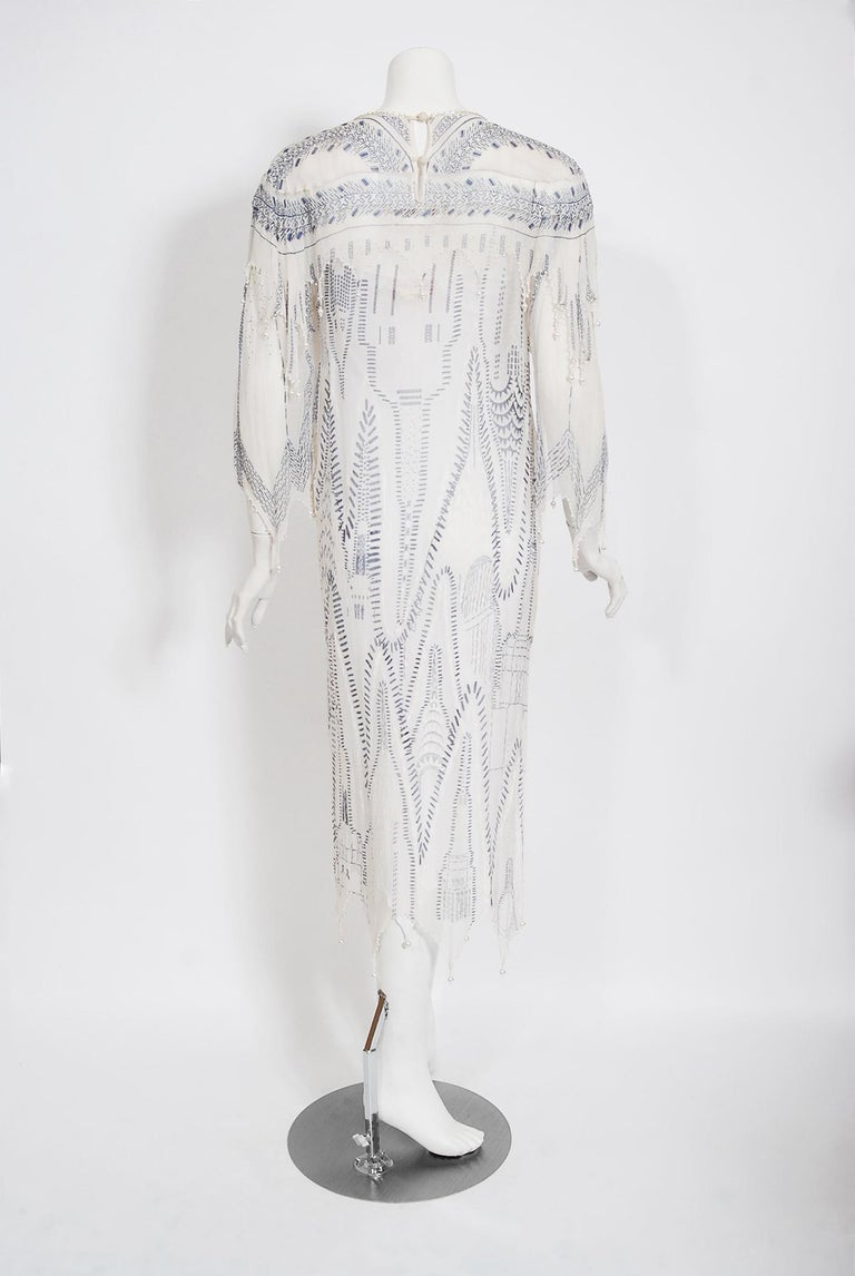 Vintage 1985 Zandra Rhodes Manhattan City Novelty Hand Painted Ivory Silk Dress For Sale 8