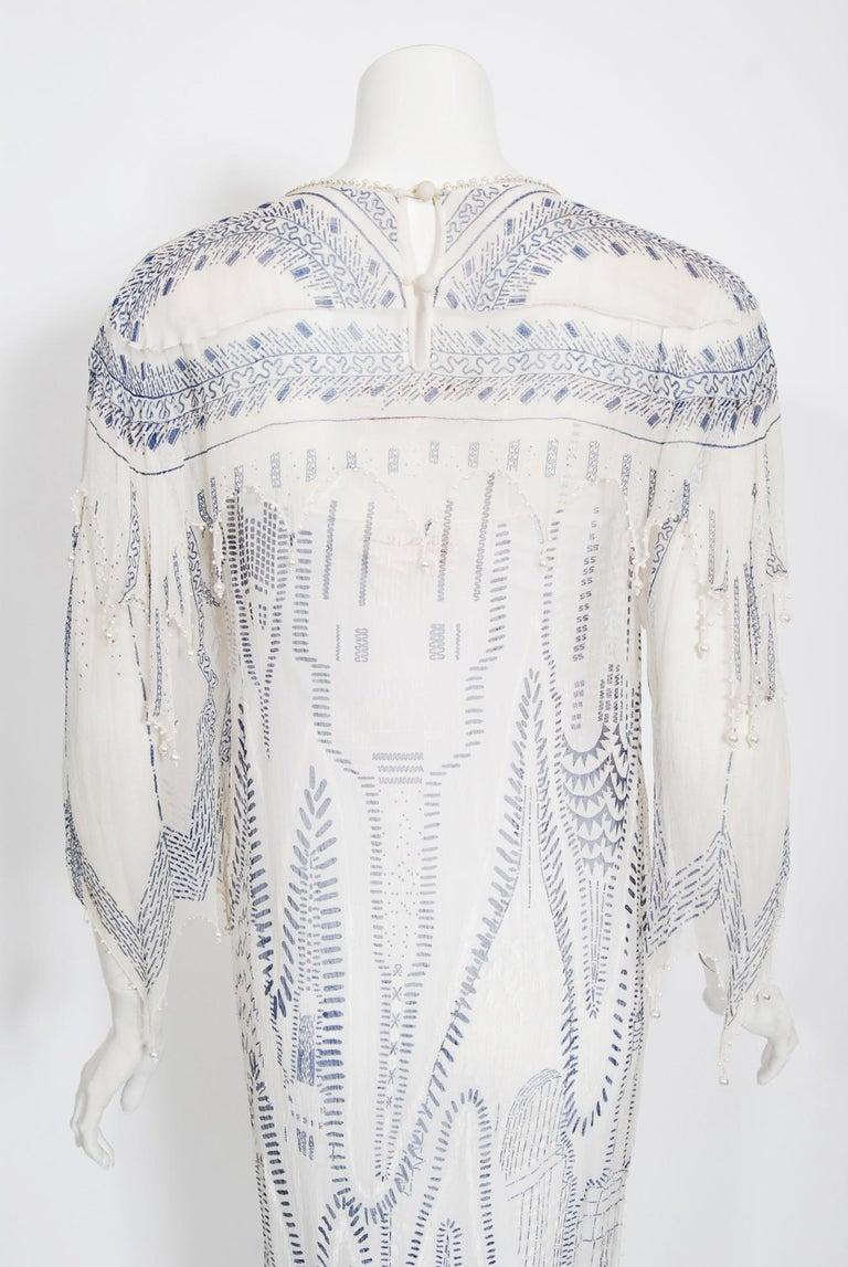Vintage 1985 Zandra Rhodes Manhattan City Novelty Hand Painted Ivory Silk Dress For Sale 9