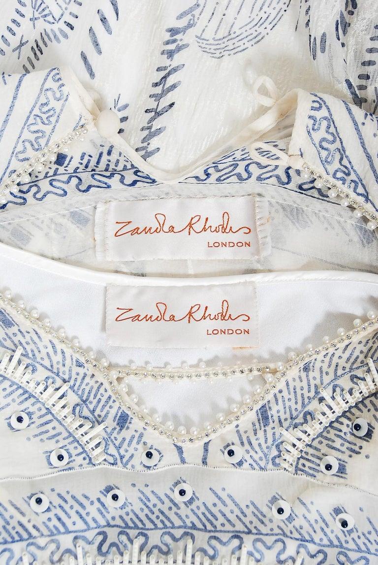 Vintage 1985 Zandra Rhodes Manhattan City Novelty Hand Painted Ivory Silk Dress For Sale 10