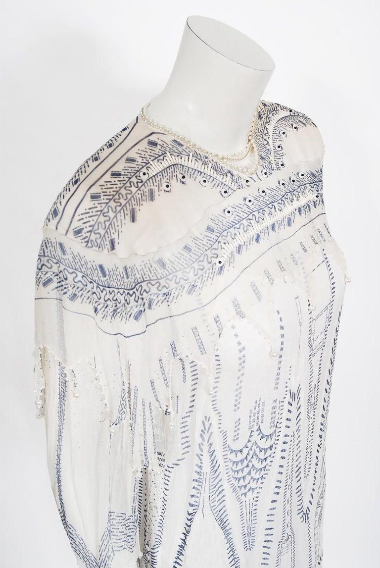 Women's Vintage 1985 Zandra Rhodes Manhattan City Novelty Hand Painted Ivory Silk Dress For Sale