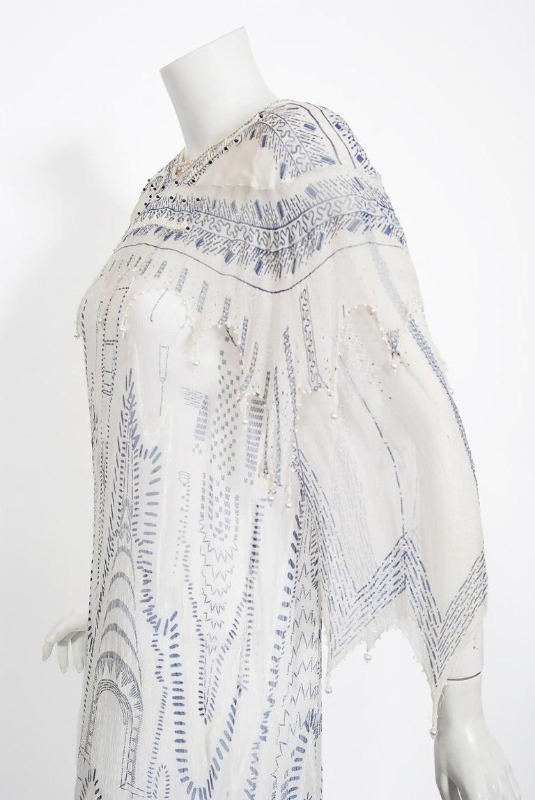 Vintage 1985 Zandra Rhodes Manhattan City Novelty Hand Painted Ivory Silk Dress For Sale 1