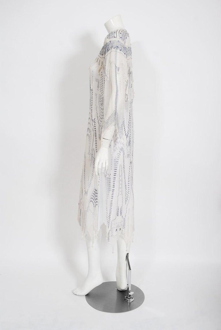Vintage 1985 Zandra Rhodes Manhattan City Novelty Hand Painted Ivory Silk Dress For Sale 3