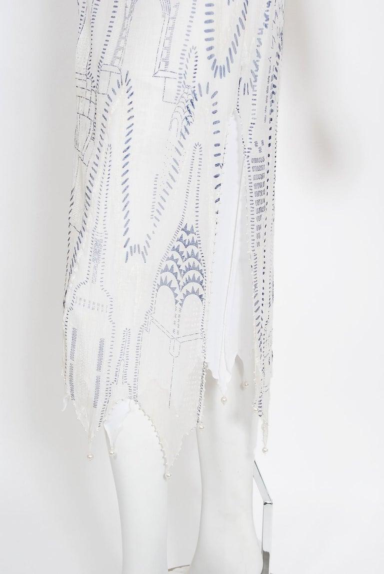 Vintage 1985 Zandra Rhodes Manhattan City Novelty Hand Painted Ivory Silk Dress For Sale 4