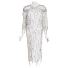 Vintage 1985 Zandra Rhodes Manhattan City Novelty Hand Painted Ivory Silk Dress