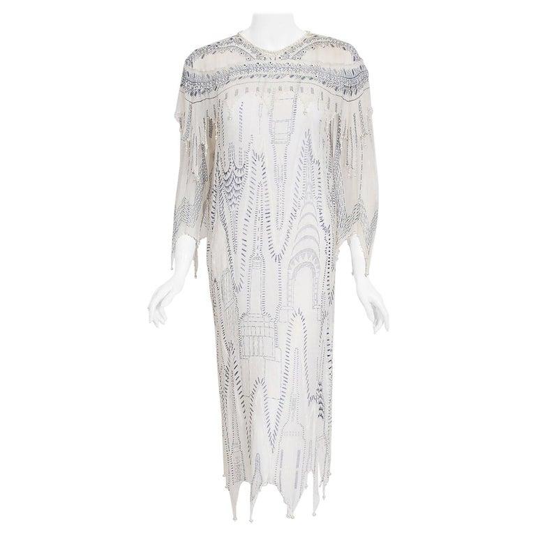 Vintage 1985 Zandra Rhodes Manhattan City Novelty Hand Painted Ivory Silk Dress For Sale