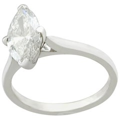 Vintage 1986 1.41 Carat Diamond and White Gold Solitaire Ring