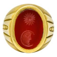 Vintage 1986 Kieselstein-Cord Carnelian 18 Karat Gold Signet Ring