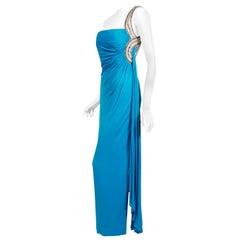 Vintage 1986 Travilla Couture Whitney Houston Design Blue One-Shoulder Silk Gown