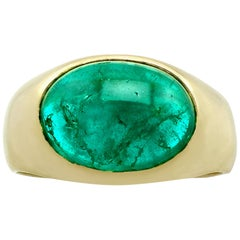 Vintage 1987 4.37Ct Emerald and Yellow Gold Cocktail Ring