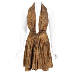 Vintage 1987 Azzedine Alaia Documented Golden Print Silk Backless Halter Dress