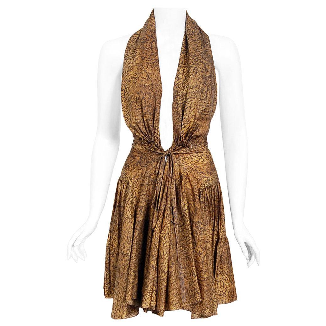 Vintage 1987 Azzedine Alaia Documented Golden Print Silk Backless Halter Dress